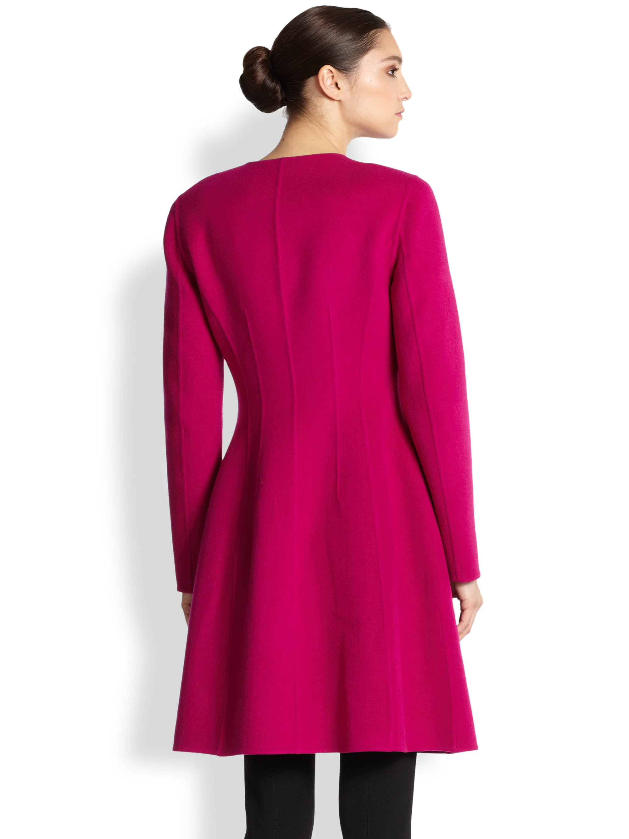 St. john Wool Cashmere Jewel Neck Coat in Pink | Lyst