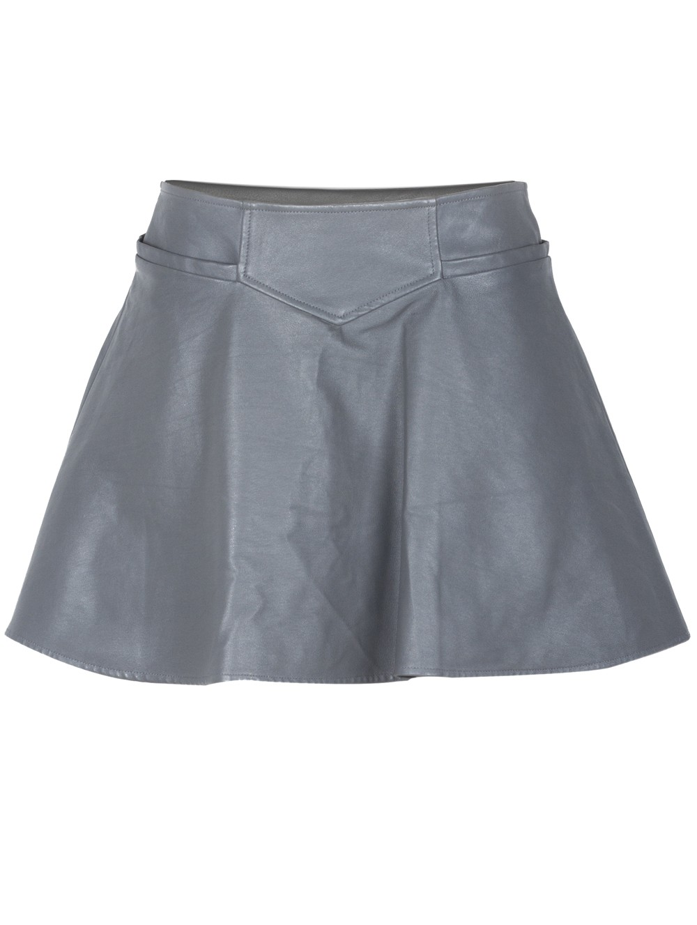 thakoon addition flared leather skirt in gray grey lyst