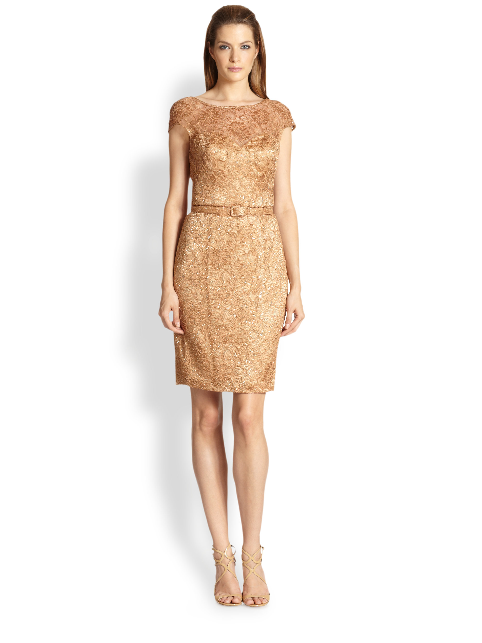 theia lace cocktail dress in beige yellow