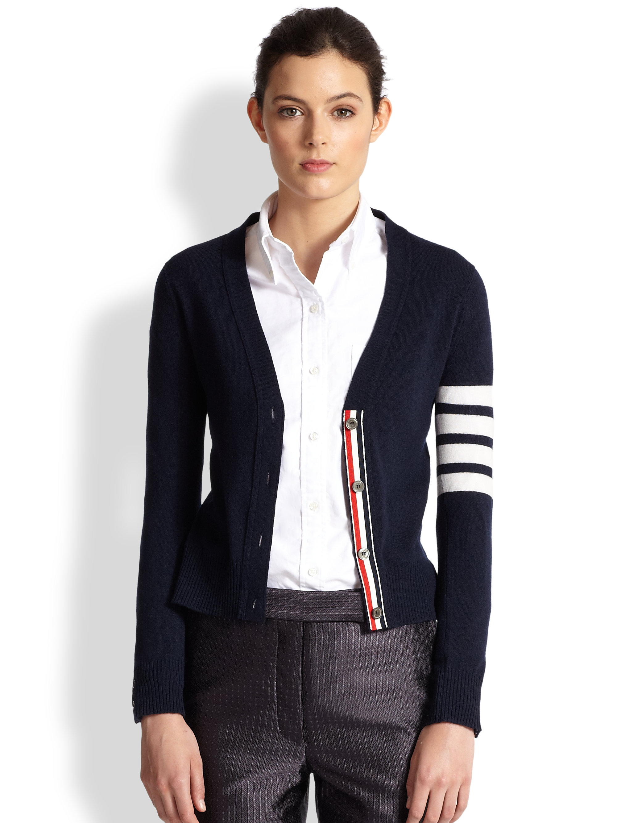 Thom browne Striped Sleeve Cashmere Cardigan in Blue | Lyst