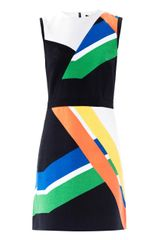 Tibi Graphic Colourblock Crepe Dress - Lyst