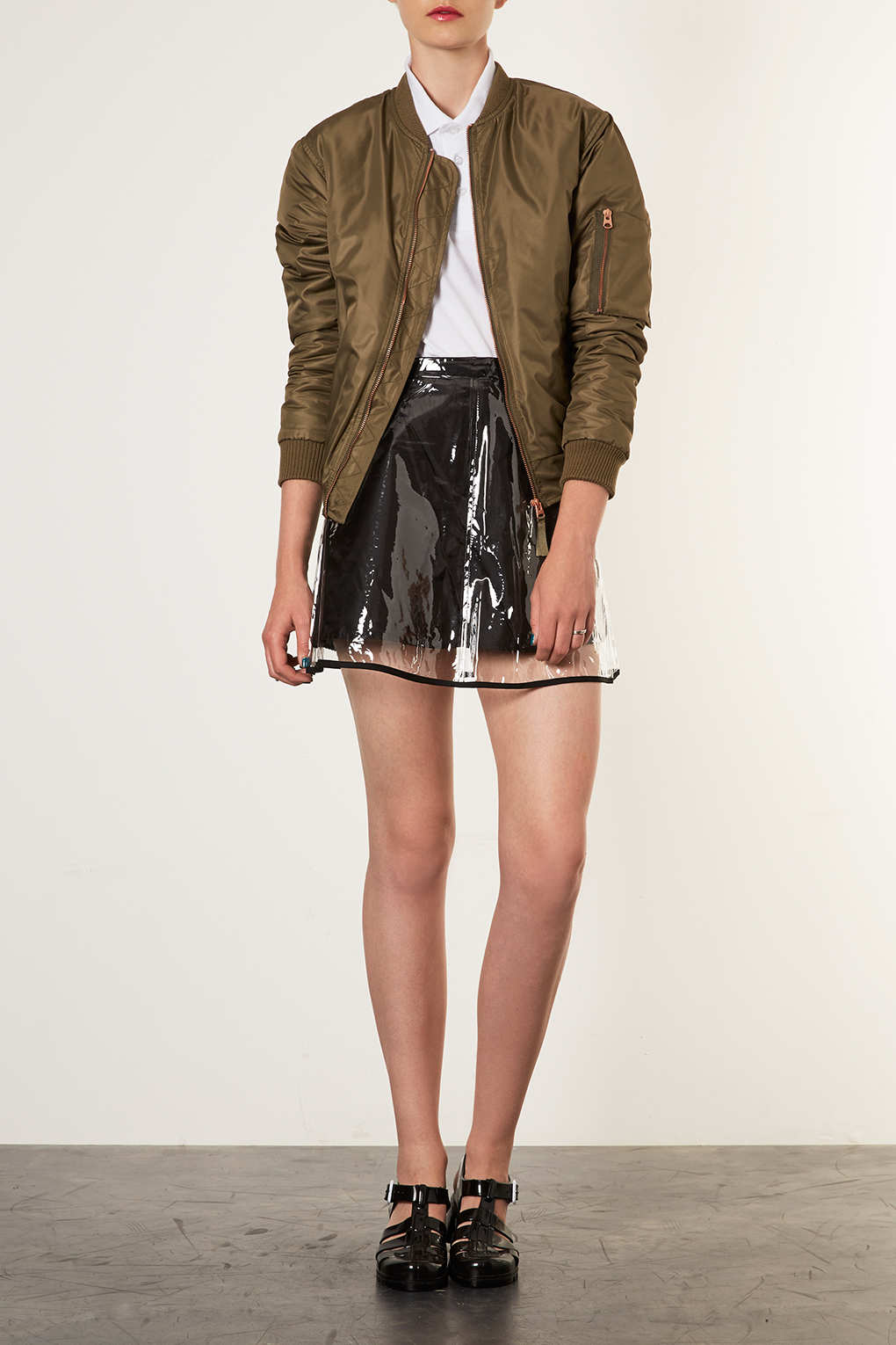 Topshop Clear Plastic Skirt In Black Lyst