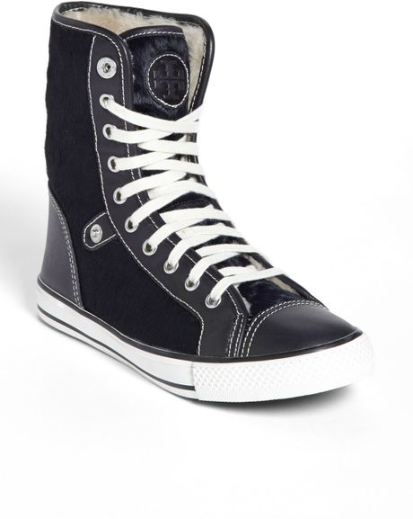 Tory Burch Benjamin High Top Sneaker In Blue Bright Navy