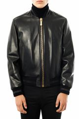 Versace Leather Bomber Jacket - Lyst