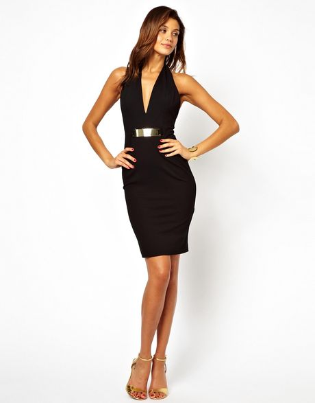 Plunging Halter Dress Dress With Plunge Neck in
