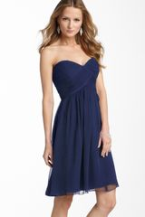 Donna Morgan Morgan Strapless Silk Chiffon Dress - Lyst