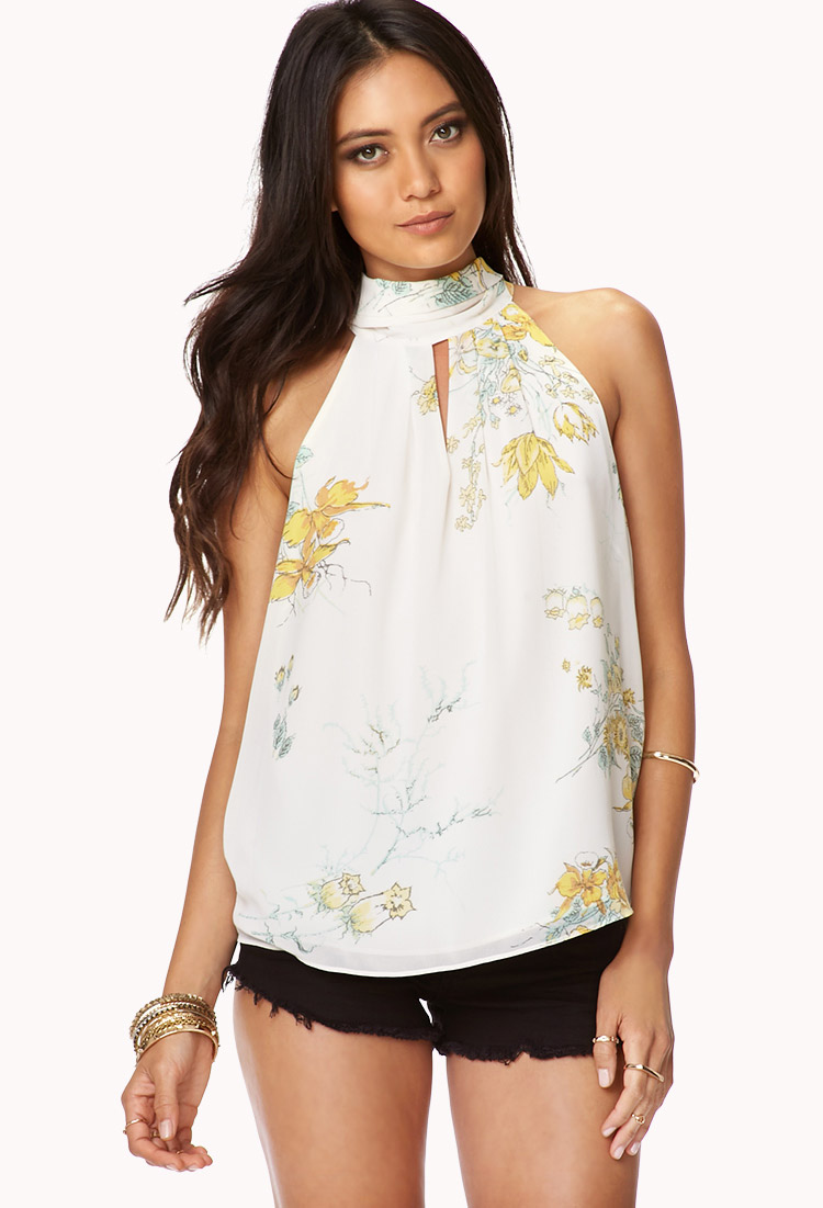 Forever 21 Flowy Floral Top in Yellow (Cream/yellow)