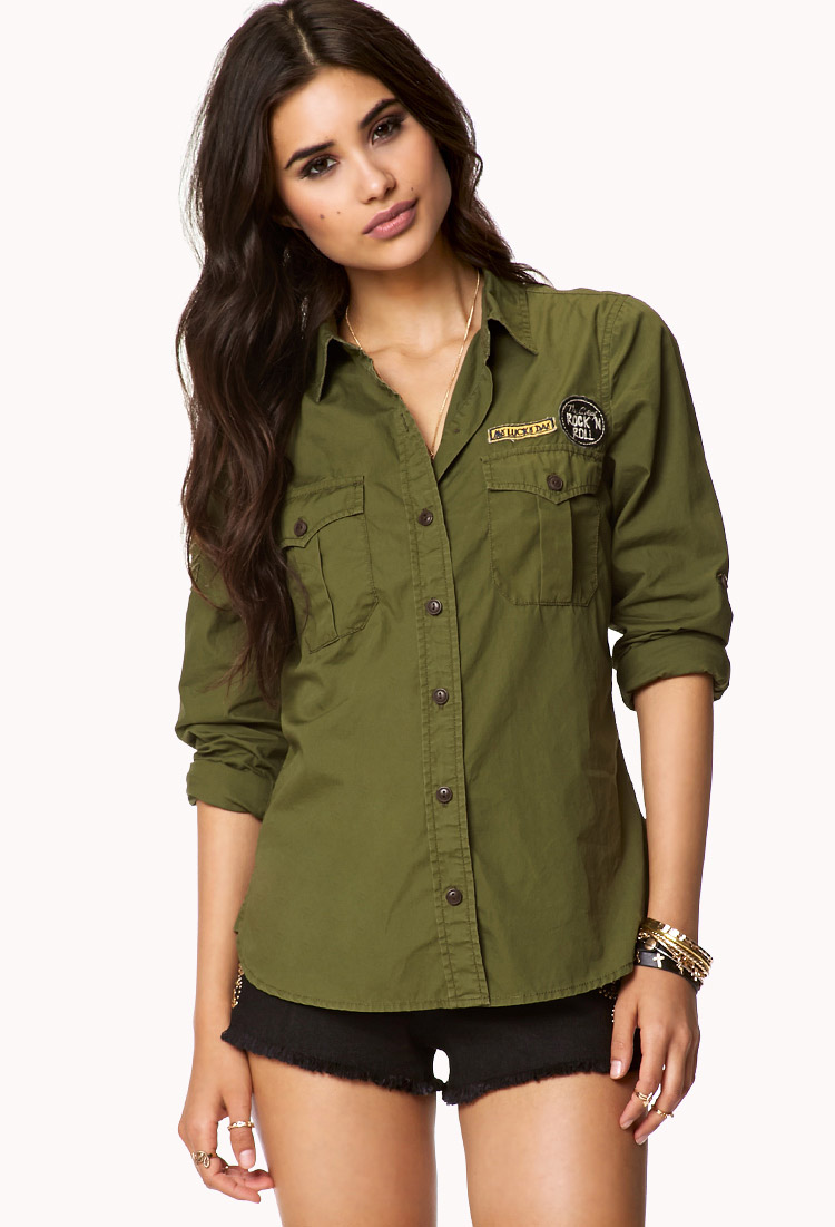 Lyst Forever 21 Military Inspired Button Down Shirt In Green