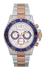 Michael Kors Midsize Silver Colorrose Golden Twotone Stainless Steel Chronograph Watch - Lyst
