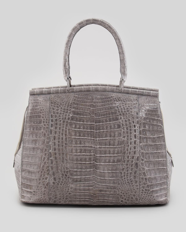 Nancy gonzalez large crocodile bar tote bag medium gray in for Nancy gonzalez crocodile tote
