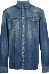 Pierre Balmain Branded Denim Shirt - Lyst