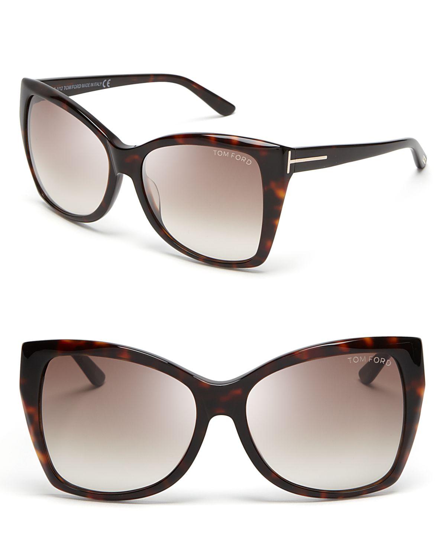 04692a158d0 Lyst - Tom Ford Carli Oversize Square Cateye Sunglasses in Brown