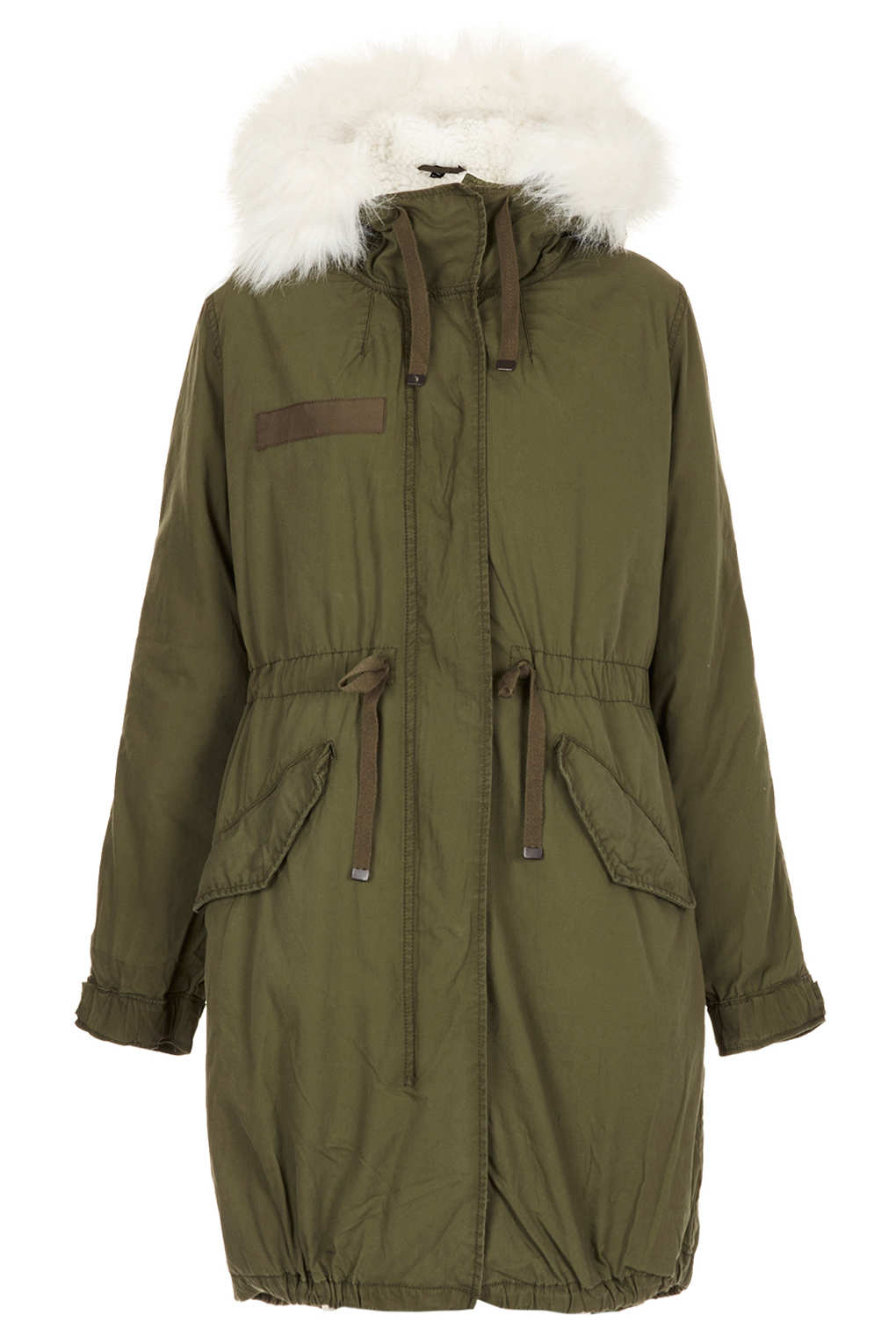 Topshop Tall Khaki Parka Coat in Green | Lyst