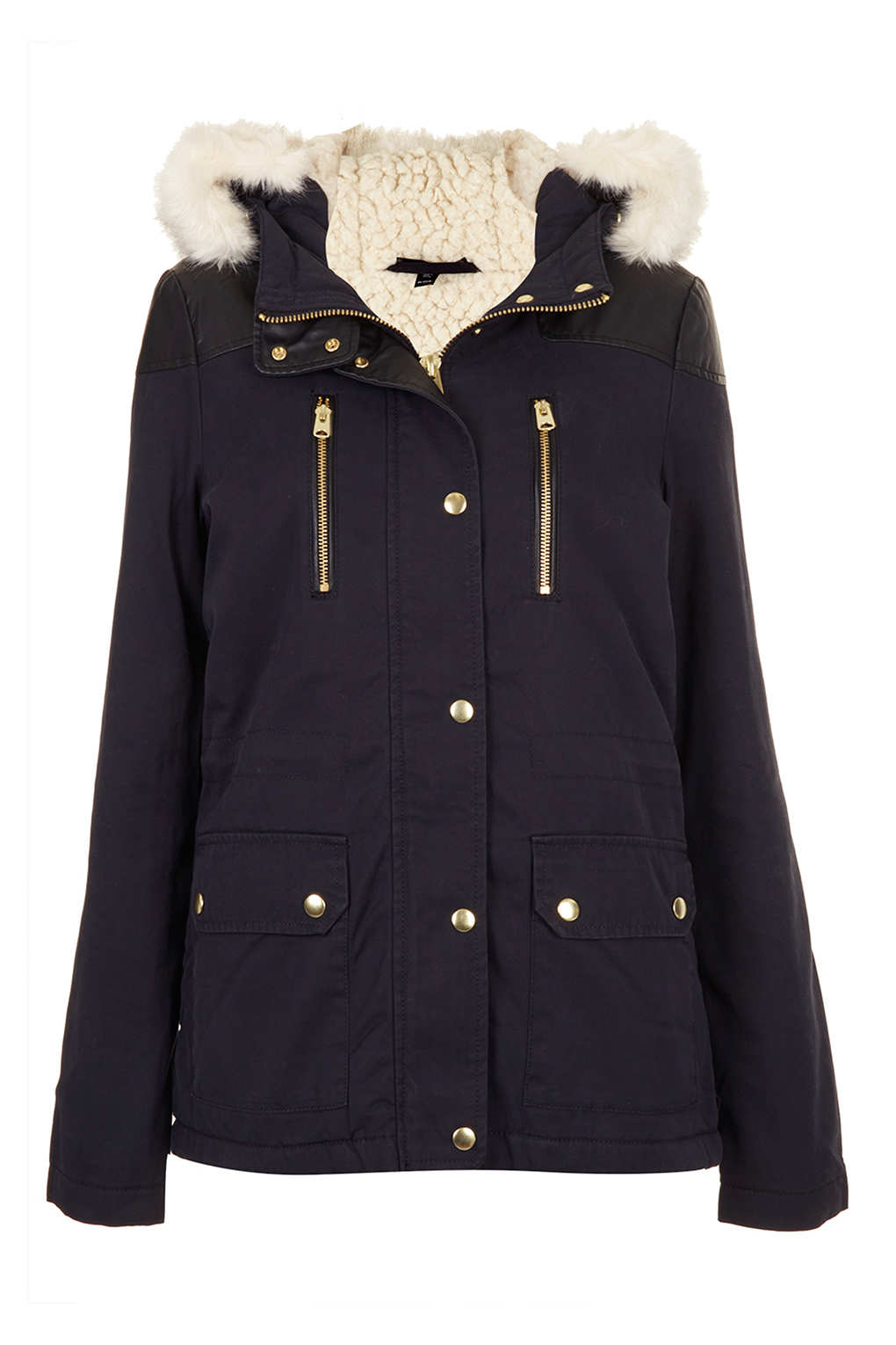 Topshop Petite Fur Trim Borg Lined Parka In Blue Navy