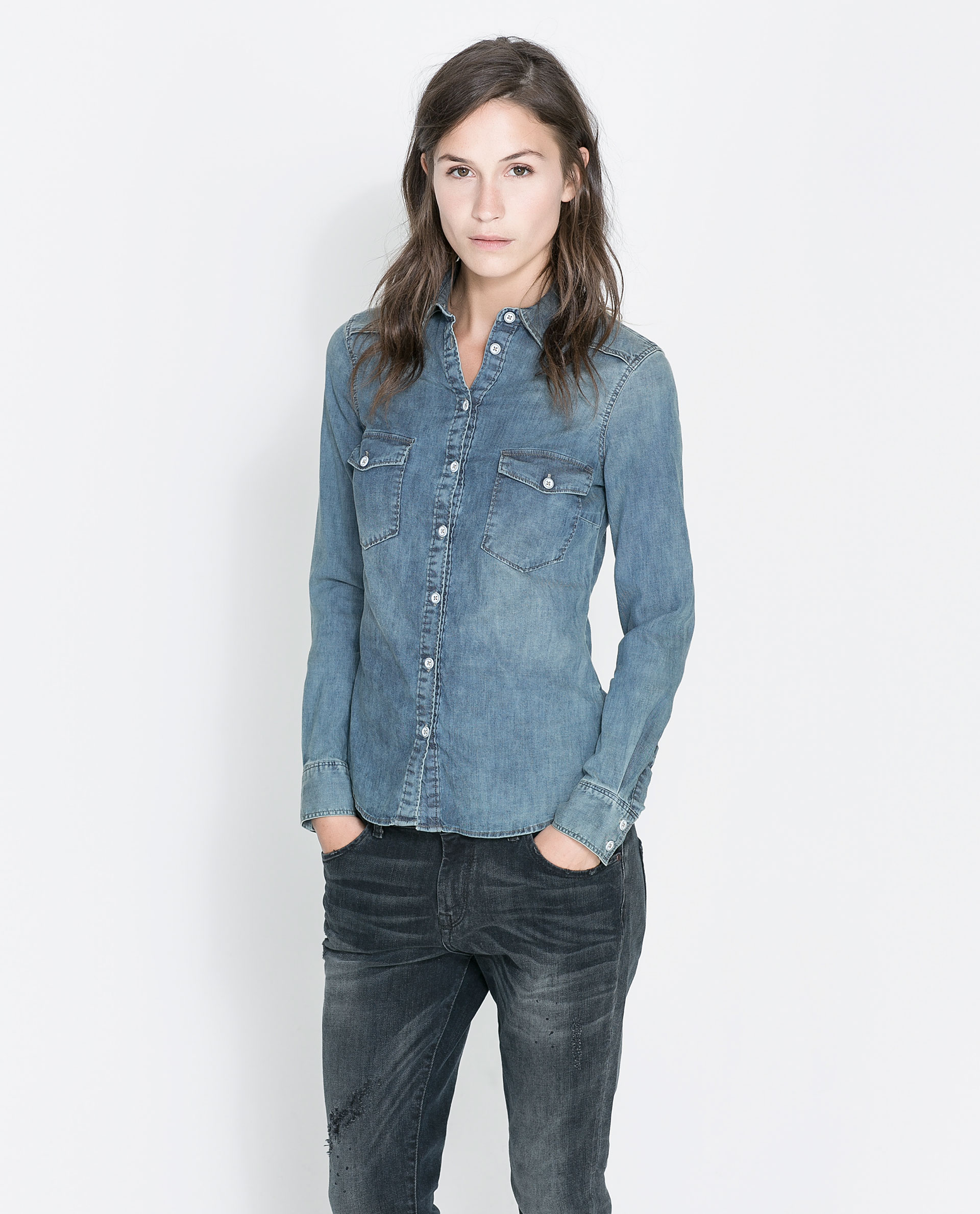 Zara basic denim shirt in blue lyst for Blue denim shirt for womens