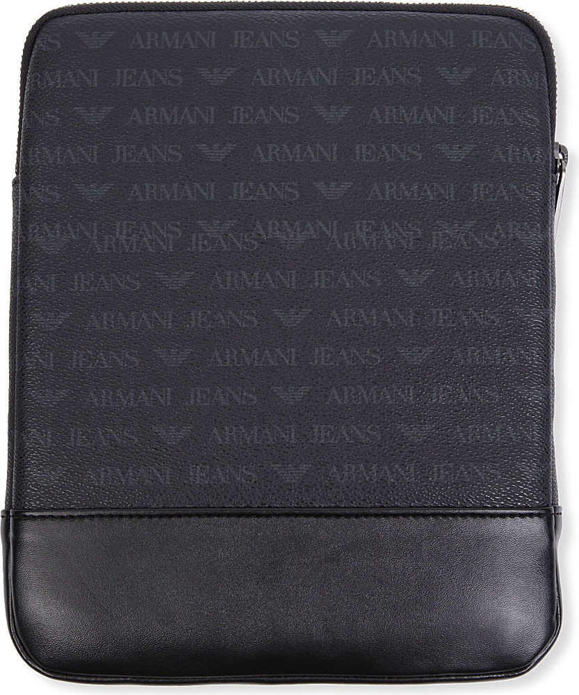ab8218a1461 Armani Jeans Grained Leather Ipad Case in Black for Men - Lyst
