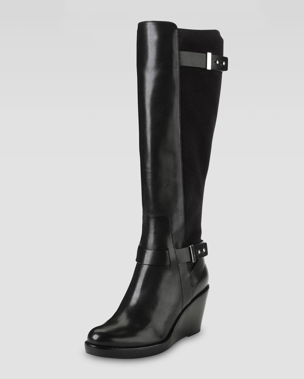 cole haan fulton wedge boot black in black lyst