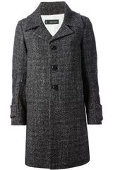DSquared2 Tweed Overcoat - Lyst