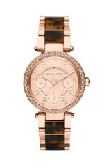 Michael Kors Mini Size Tortoise and Rose Gold Tone Parker Chronograph Glitz Watch  - Lyst