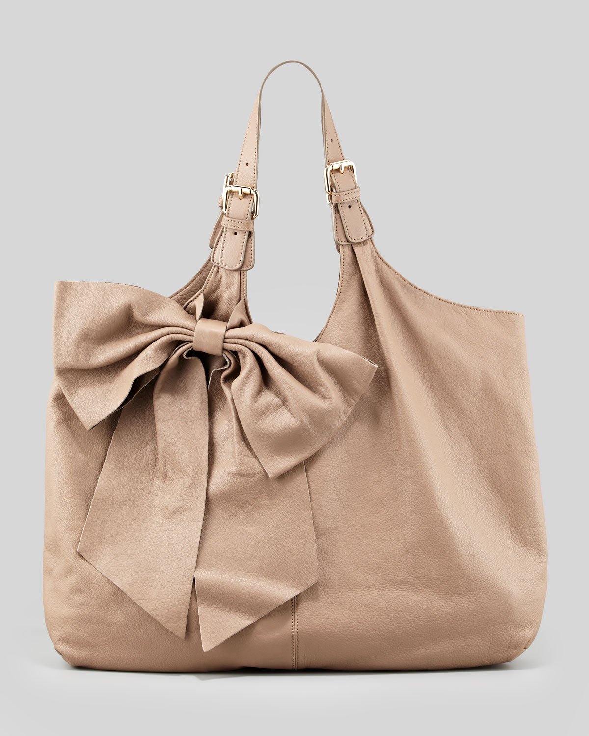 Red valentino Classic Bow Hobo Bag Taupe in Brown | Lyst