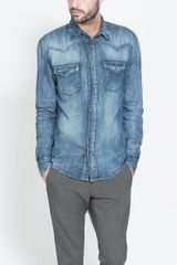 Zara Denim Animal Print Shirt