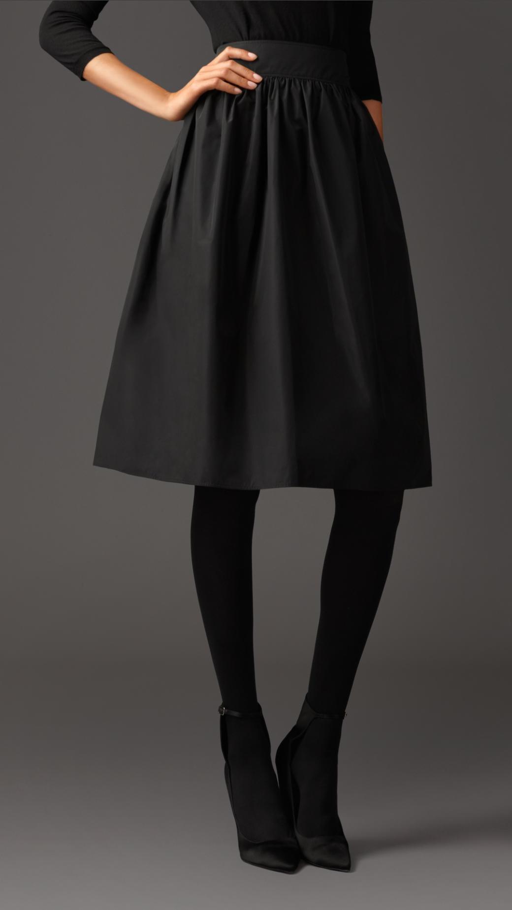 Burberry Gathered Taffeta Skirt in Black | Lyst