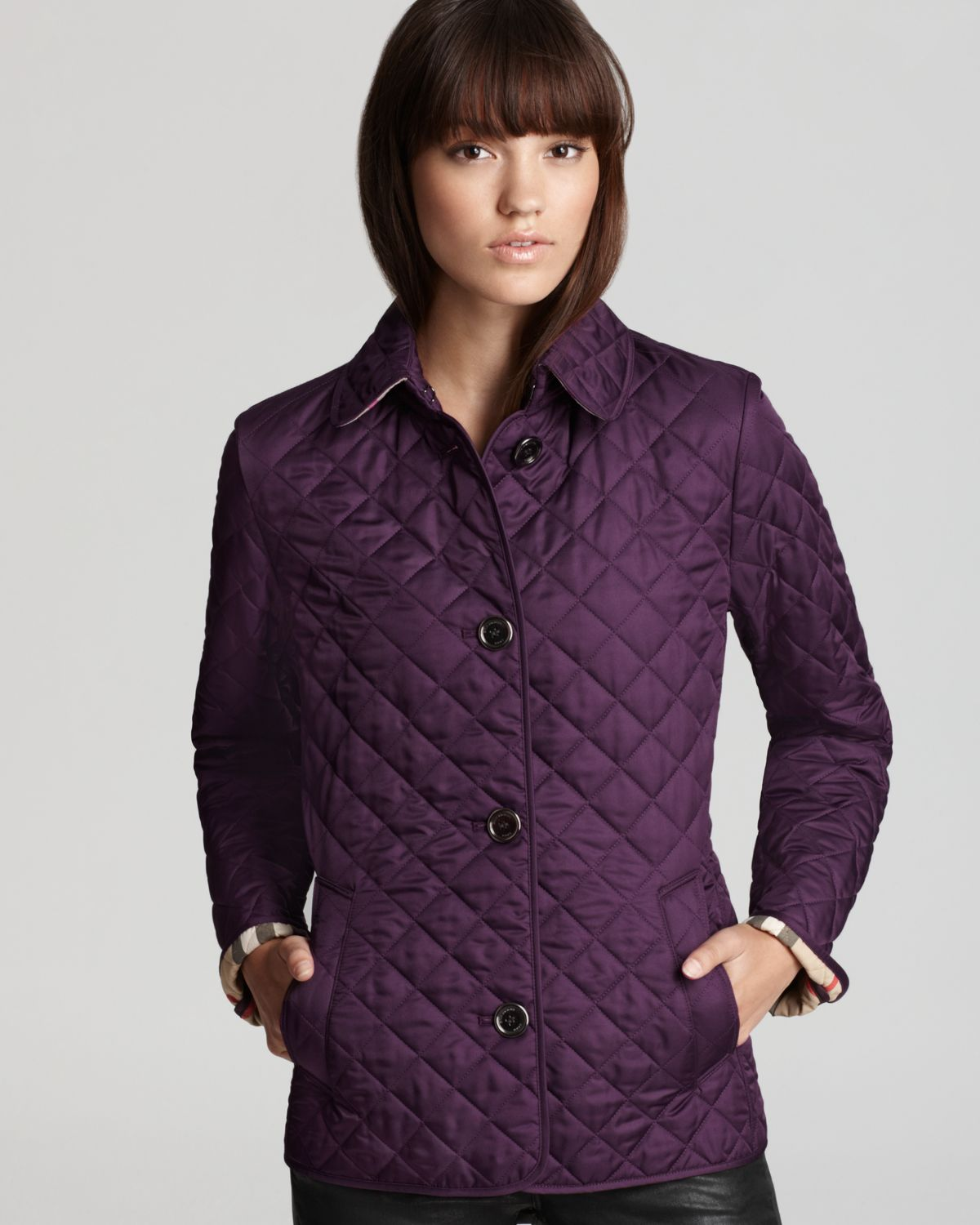 burberry brit copford quilted jacket in purple lyst. Black Bedroom Furniture Sets. Home Design Ideas