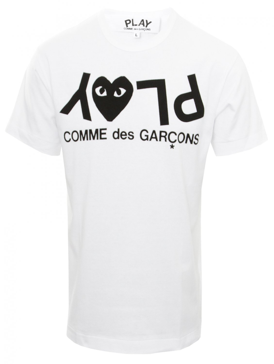 comme des gar ons play mens letters t shirt white in white. Black Bedroom Furniture Sets. Home Design Ideas