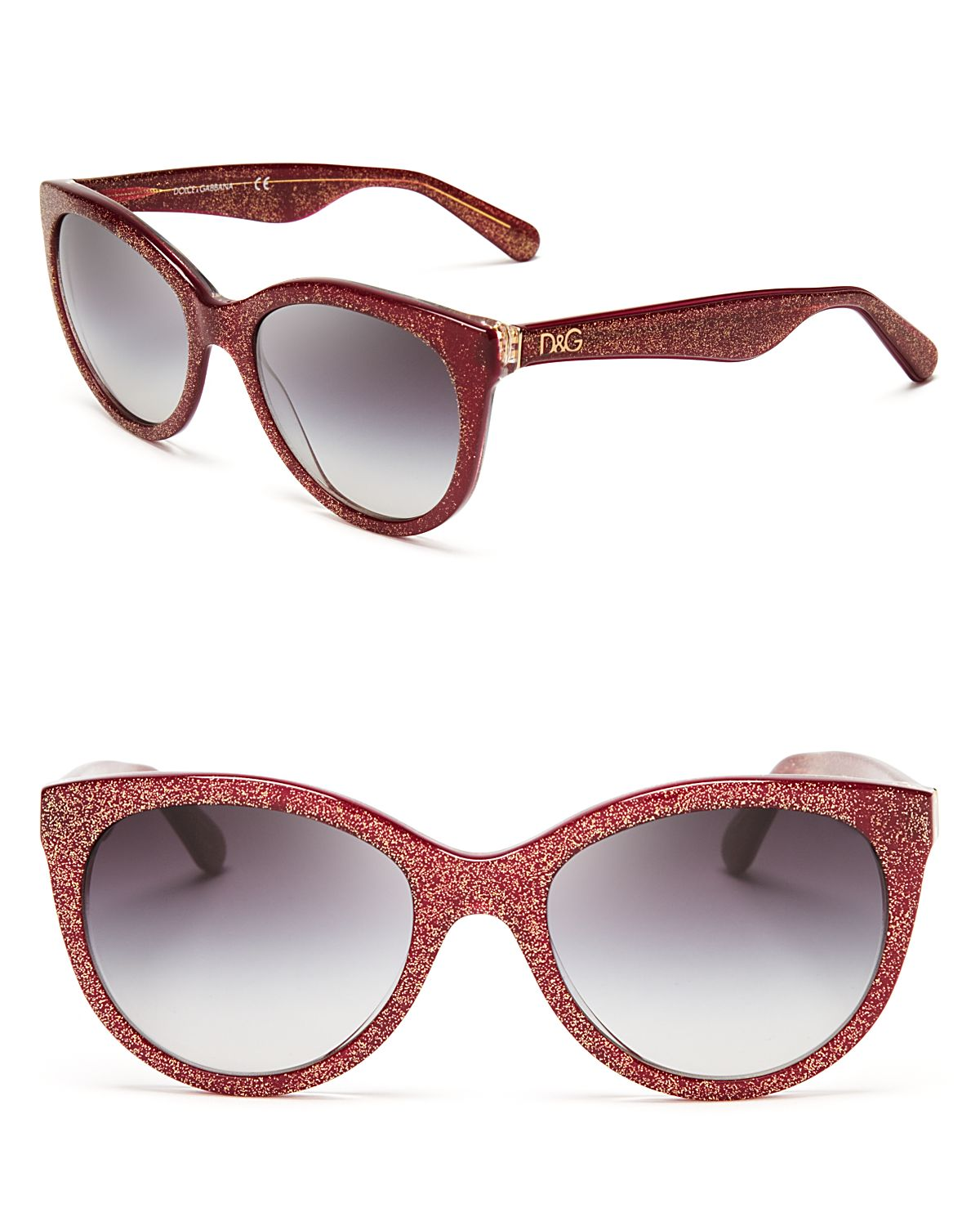 9a7b73a85570 Dolce & Gabbana Rounded Glitter Cat Eye Sunglasses in Red - Lyst