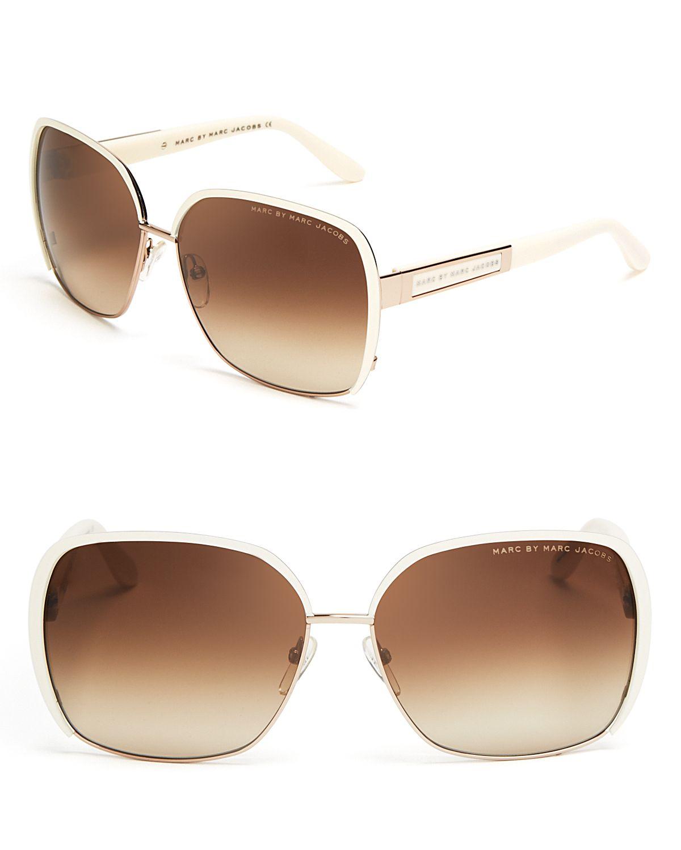 Marc Jacobs Oversized Aviator Sunglasses  marc by marc jacobs oversized square sunglasses in brown lyst