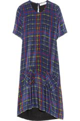 Preen Line Kensal Tartanprint Silk Crepe De Chine and Jersey Dress - Lyst