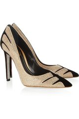 Rene Caovilla Swarovski Crystalembellished Velvet and Suede Pumps - Lyst