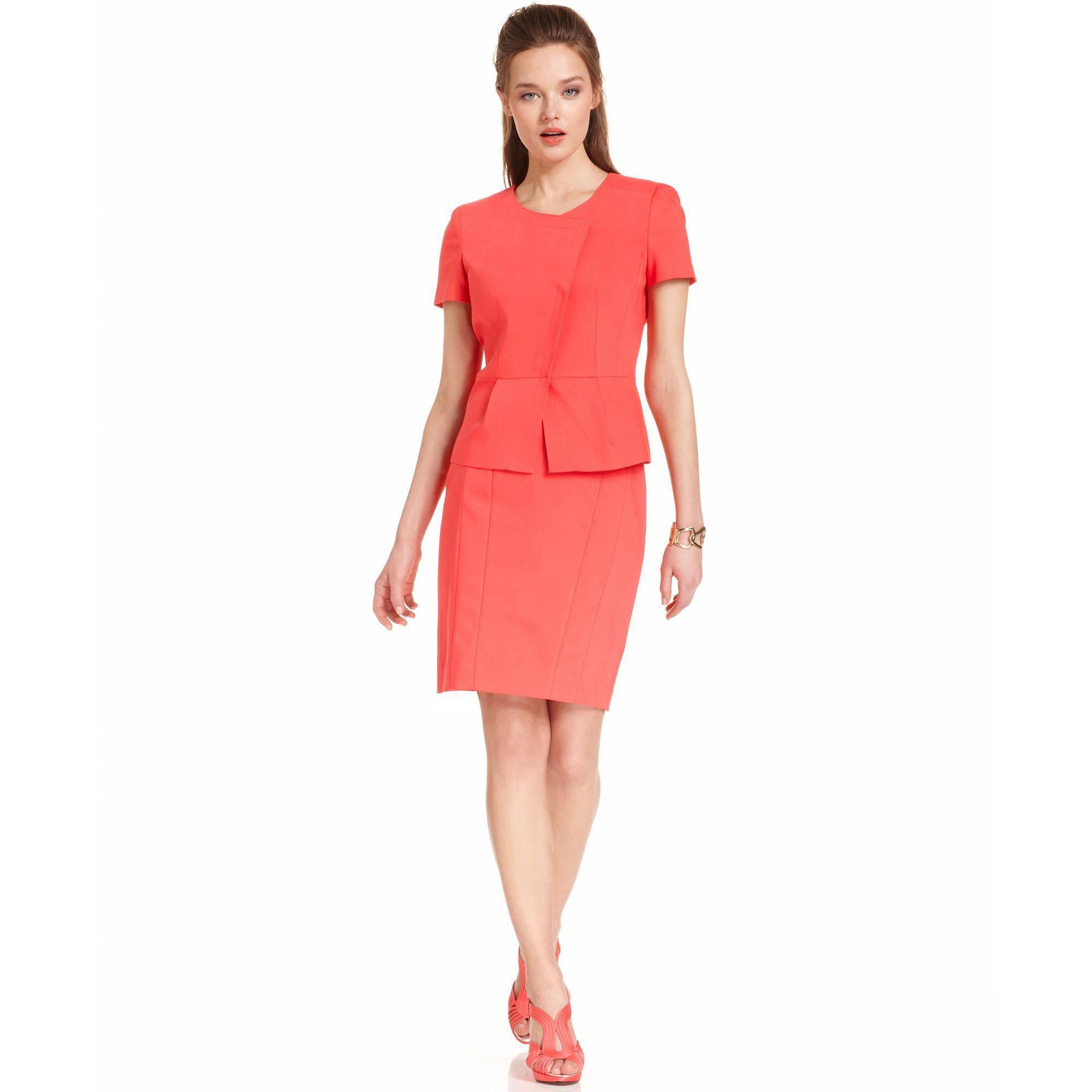 Anne klein Short Sleeve Peplum Jacket Skirt in Pink | Lyst