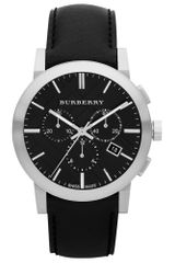 Burberry Mens Swiss Chronograph Black Leather Strap 42mm - Lyst