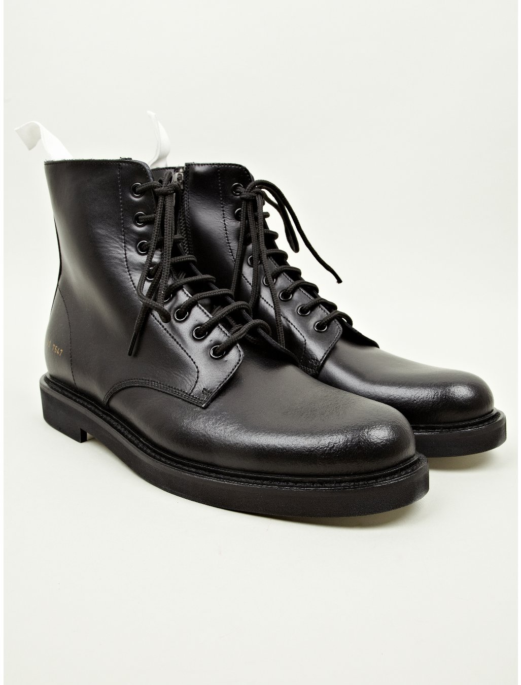 common projects mens black leather combat boots in black