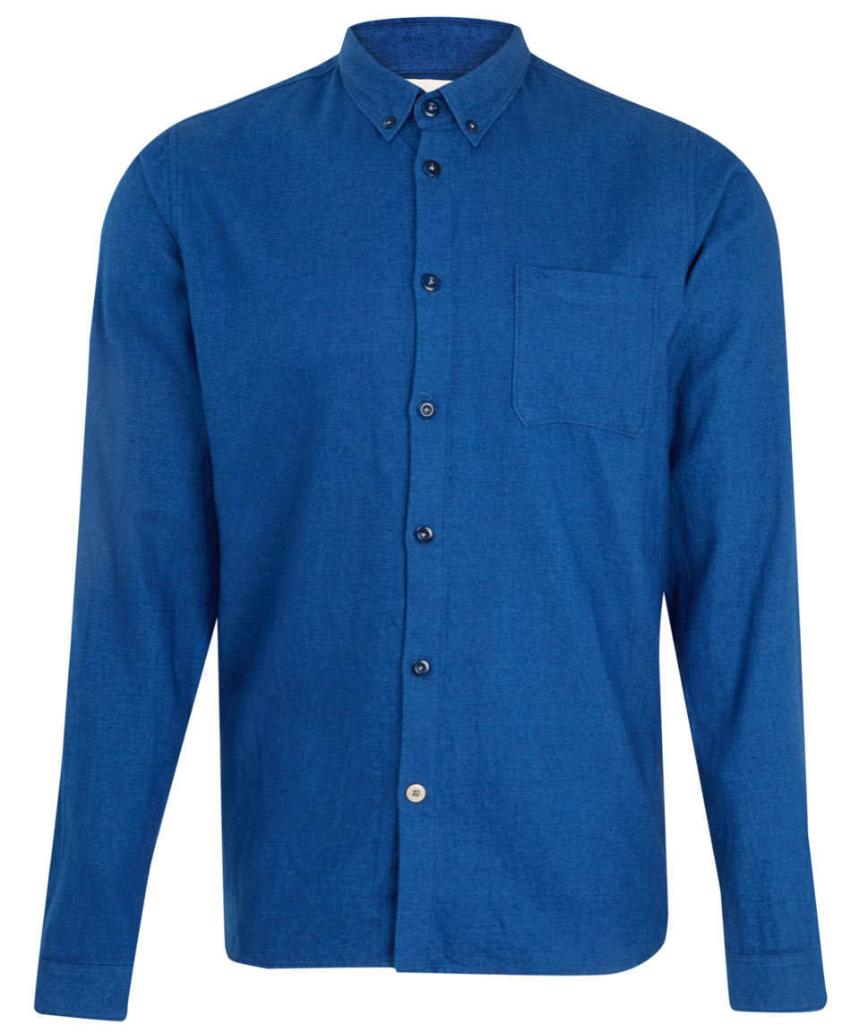 Folk blue button down cotton shirt in blue for men lyst for Cotton button down shirts men