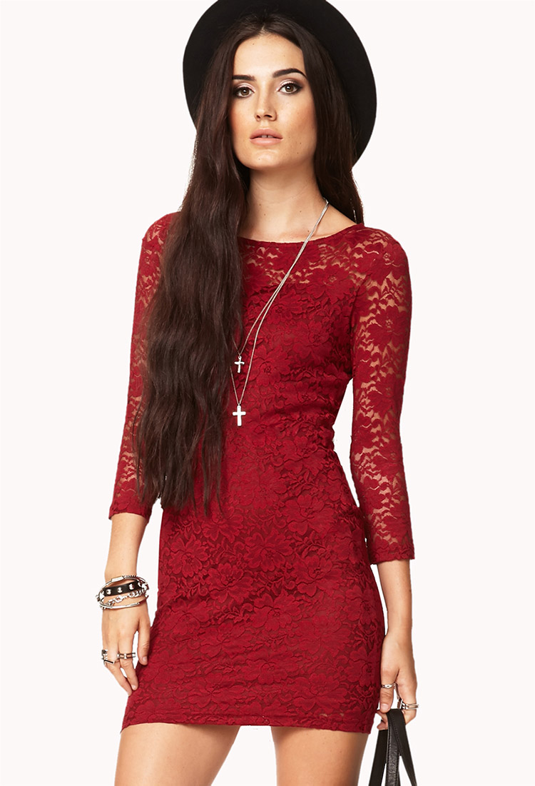 Lyst - Forever 21 Floral Lace Bodycon Dress in Purple 1af7d062a93c