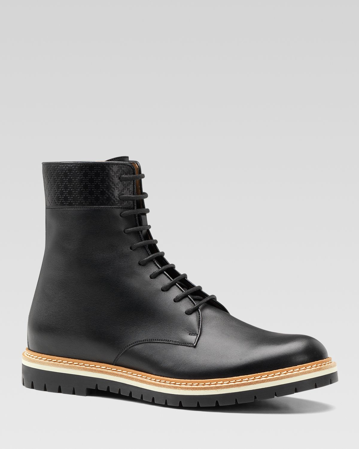 gucci galdor black leather boots in black for lyst
