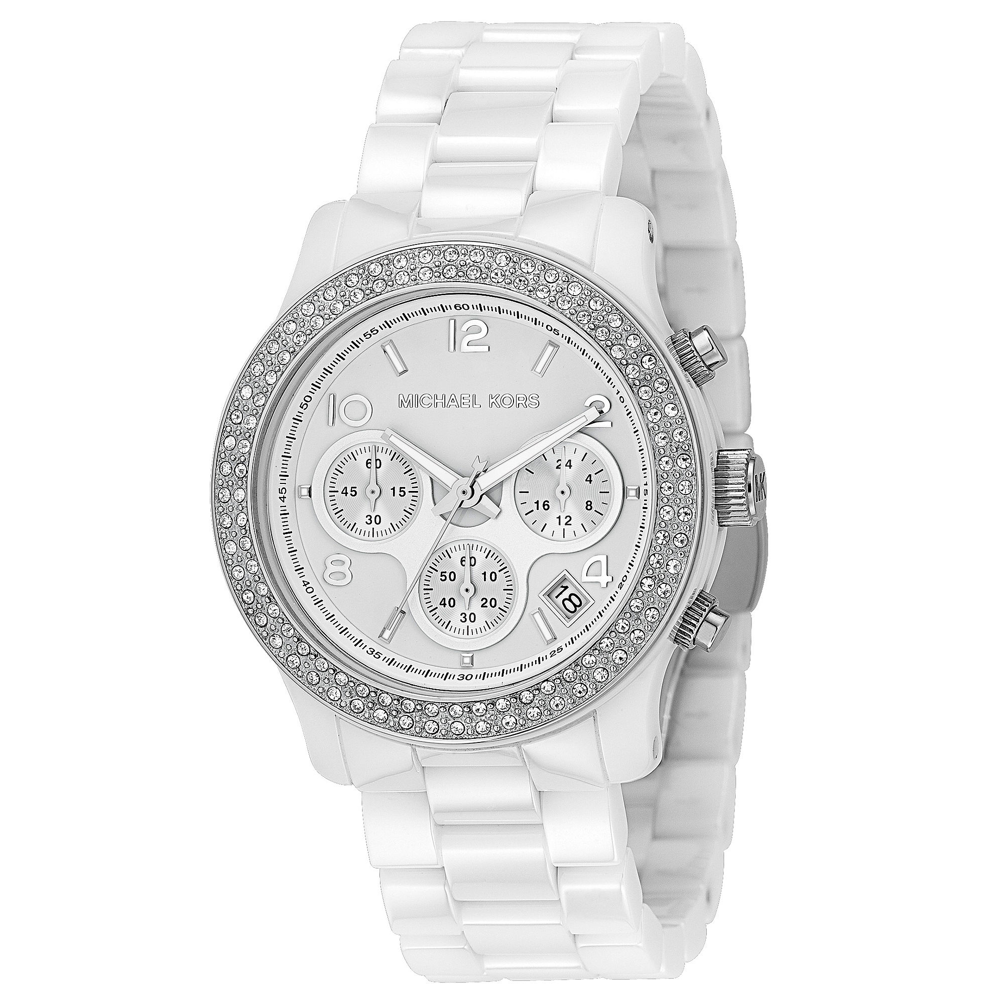 56bd2682a Michael Kors Runway Stainless Steel & White Ceramic Glitz ...