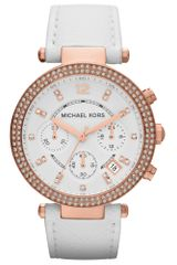 Michael Kors Womens Chronograph White Leather Strap 39mm - Lyst