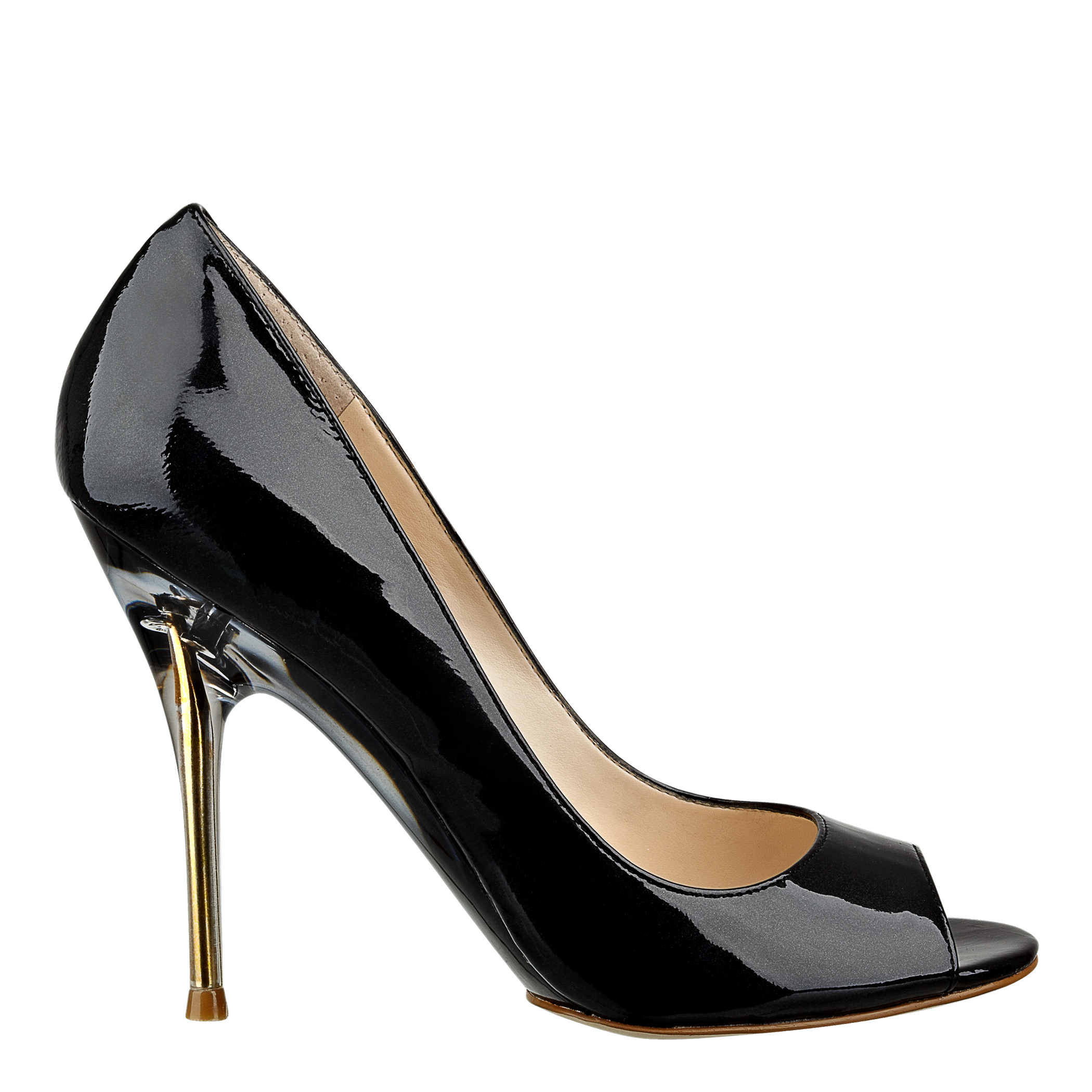 Nine West Delilah Peep Toe Pump In Black Dark Grey Patent