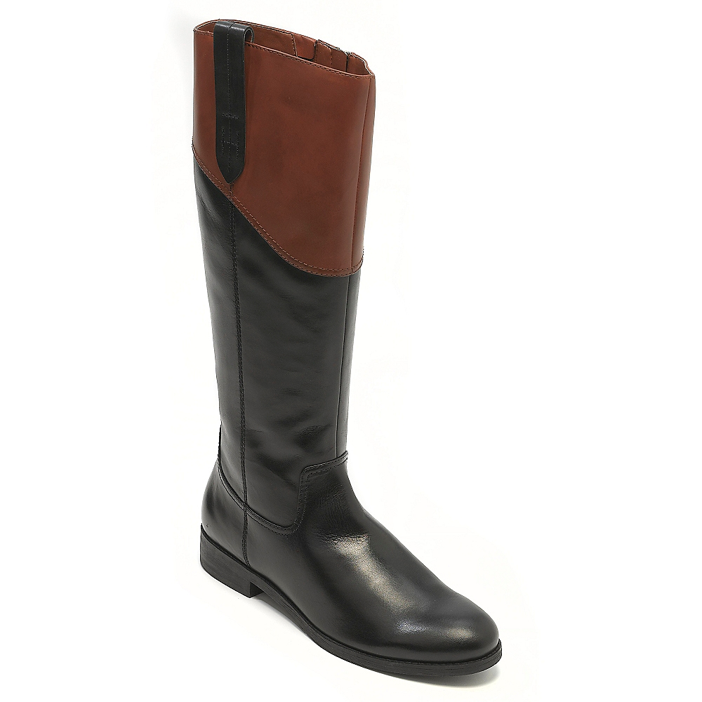 tommy hilfiger pieced flat leather riding boot in black lyst. Black Bedroom Furniture Sets. Home Design Ideas