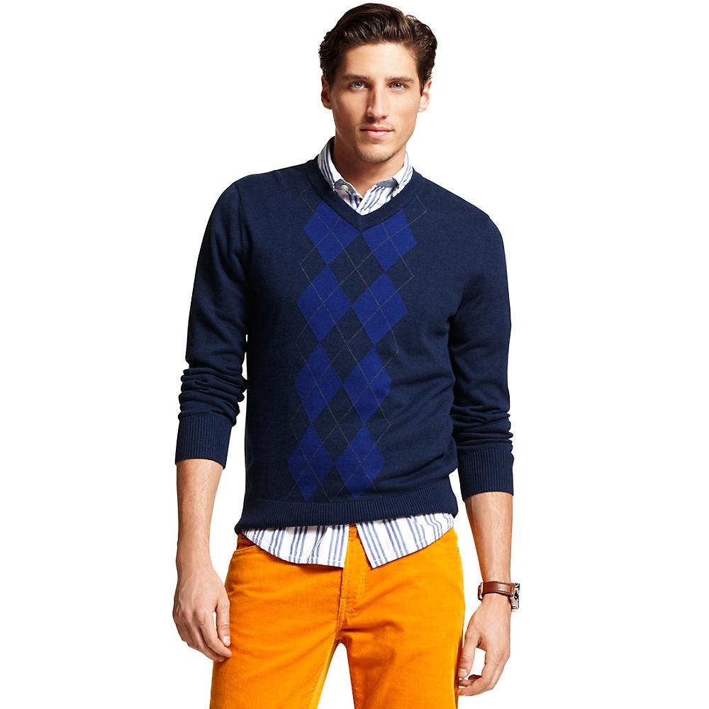 tommy hilfiger v neck sweater in blue for men navy. Black Bedroom Furniture Sets. Home Design Ideas
