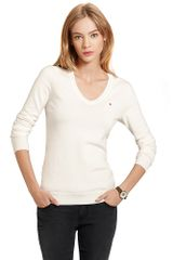 Tommy Hilfiger Ivy V Neck Cotton Sweater - Lyst