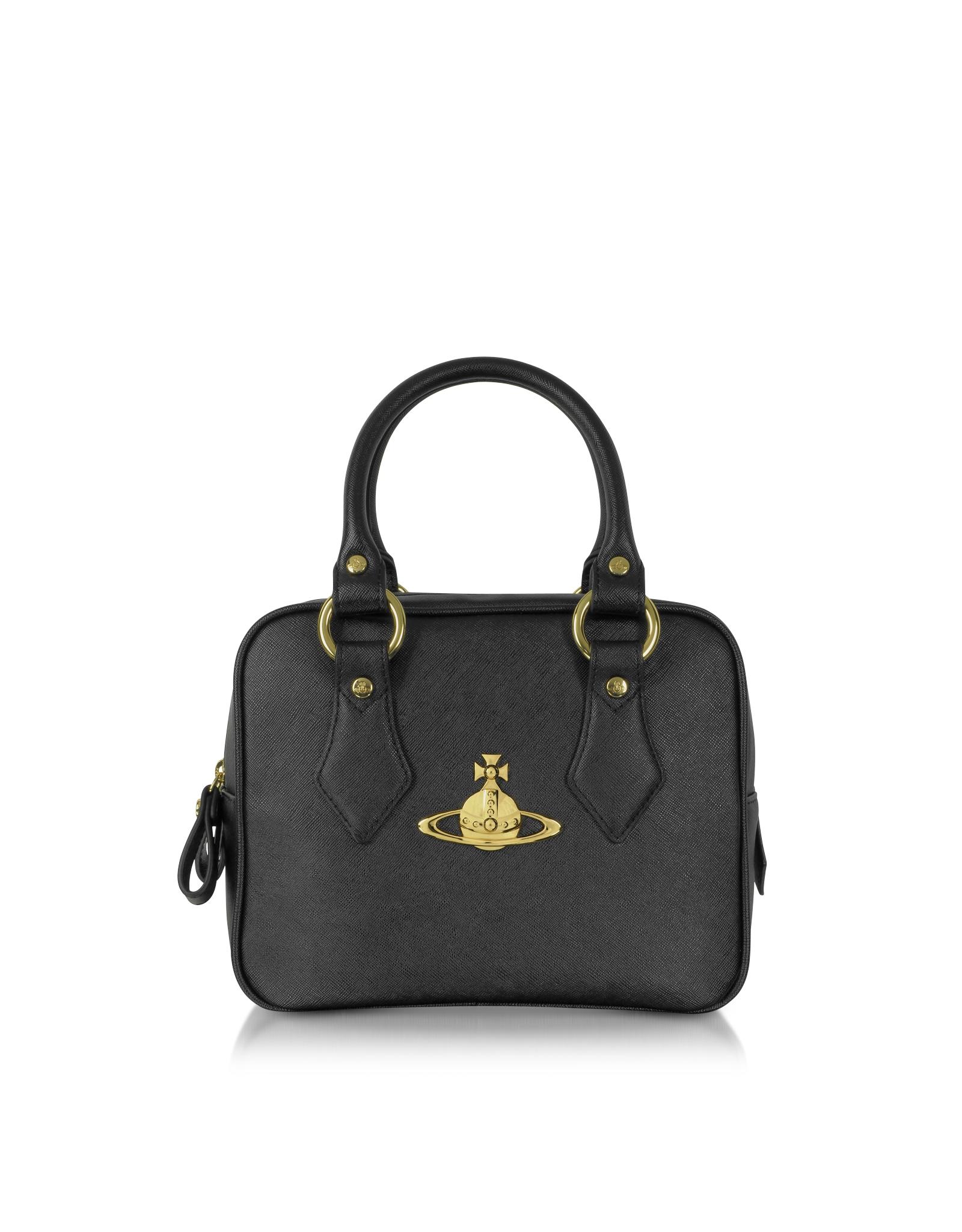 63fc54f6e9 Lyst - Vivienne Westwood Divina Black Saffiano Eco Leather Satchel ...