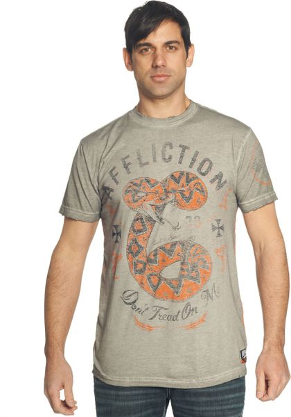 Affliction short sleeve graphic t shirt in gray for men for Get oil stain out of white shirt