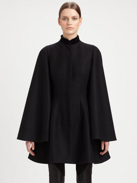 Alexander Mcqueen Velvet Collar Cape Jacket In Black Lyst