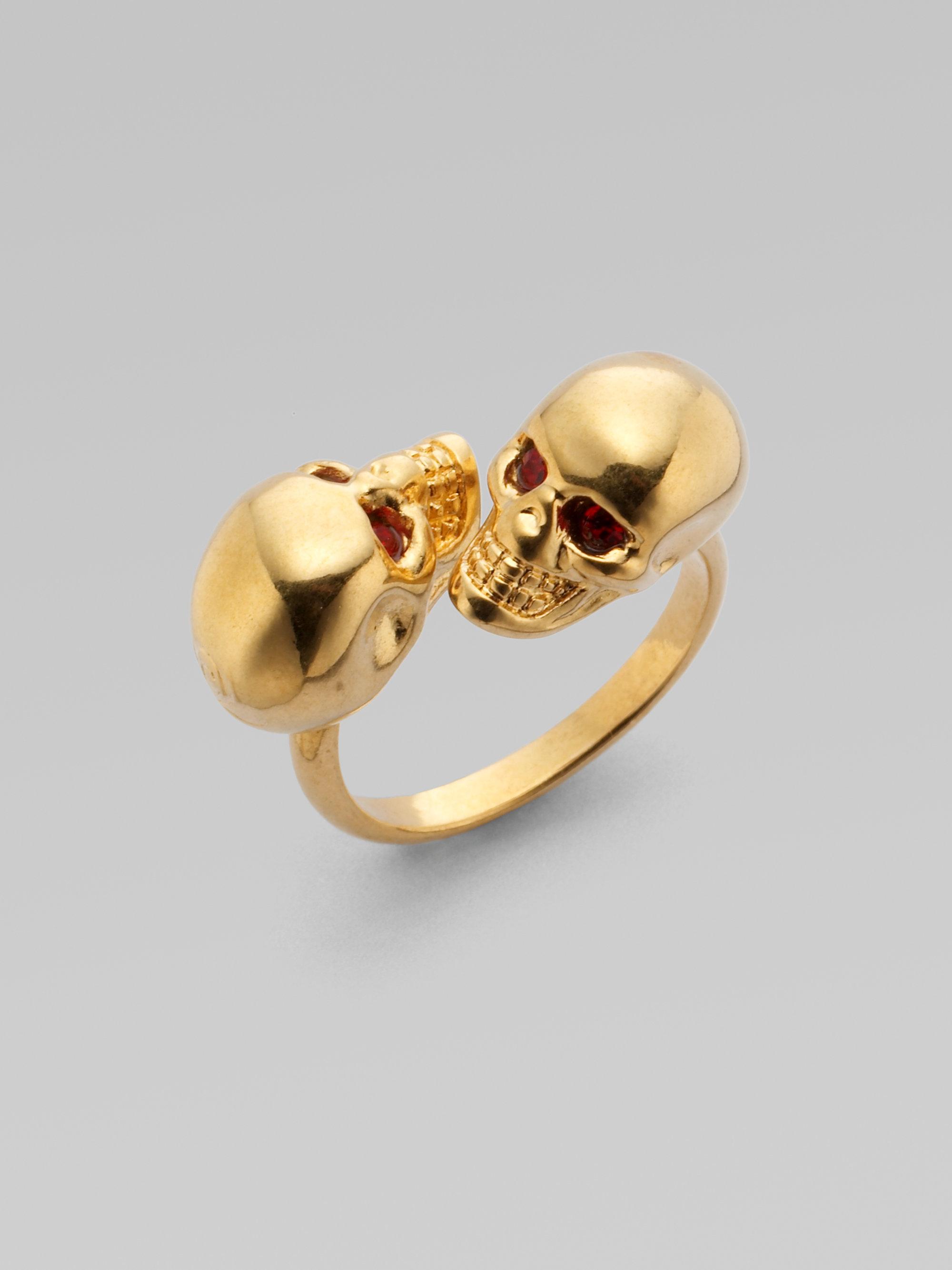 twin skull ring - Metallic Alexander McQueen y1Oe7jG