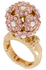 Betsey Johnson Antique Goldtone Flower Crystal Stretch Ring - Lyst