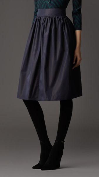 burberry gathered taffeta skirt in blue navy lyst
